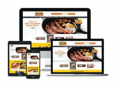 Cloverdale Foods Company website in different screen resolutions